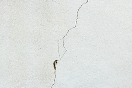 Example of cracks in concrete